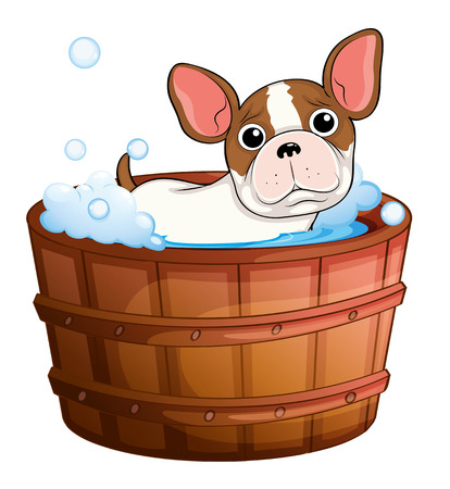 cartoon bathing: Illustration of a cute little dog taking a bath on a white background