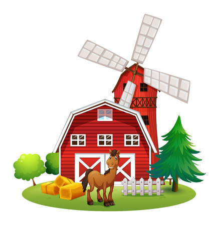 Illustration of a smiling horse outside the red barnhouse with a windmill on a white background Vector