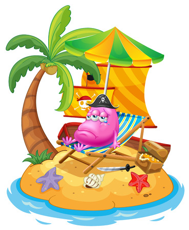 Illustration of a pink monster in the island on a white background