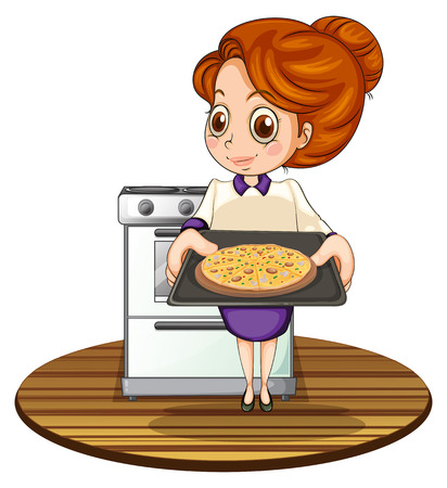 flavorful: Illustration of a lady cooking a pizza on a white background Illustration