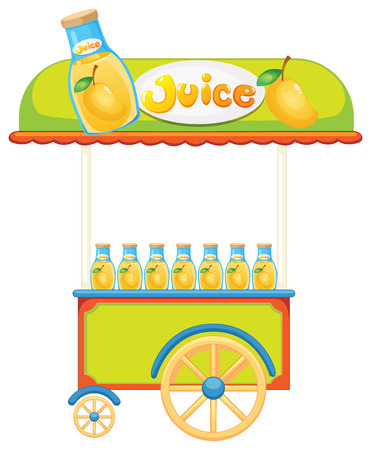 improvised: Illustration of a wooden juice cart on a white background