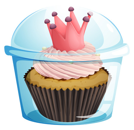 occassion: Illustration of a cupcake with a crown inside the disposable container on a white background