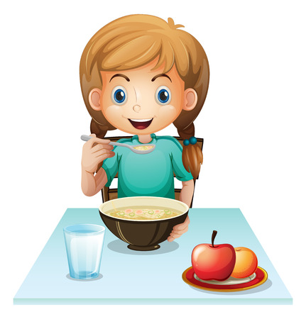 soup spoon: Illustration of a girl eating her breakfast on a white background