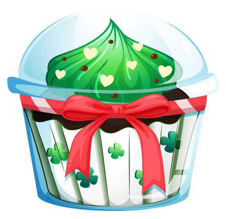 Illustration of a disposable cupcake container with a red ribbon on a white background Vector