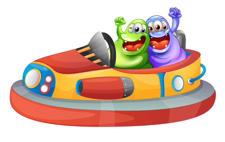 Illustration of the two monsters playing with the bumpcars on a white background