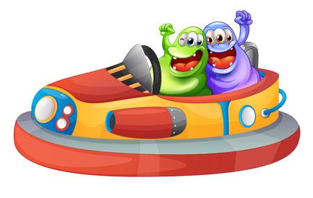 Ilustración de los dos monstruos que juegan con los bumpcars sobre un fondo blanco