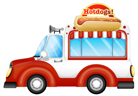 vendor: Illustration of a vehicle selling hotdogs on a white background