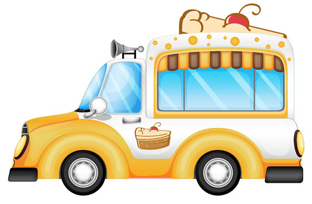 Illustration of a vehicle selling cakes on a white background Vector
