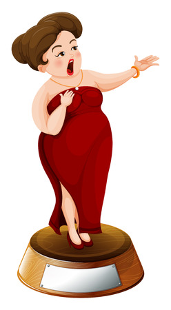 labelling: Illustration of a fat girl with a red dress on a white background