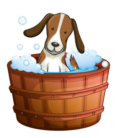 regimen: Illustration of a dog taking a bath at the bathtub on a white background
