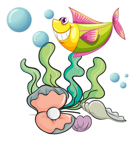 Illustration of a smiling fish under the sea near the shells on a white background Vector
