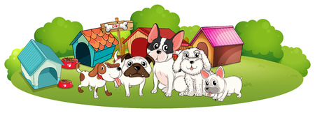 bestfriend: Illustration of a group of dogs outside their houses on a white background Illustration