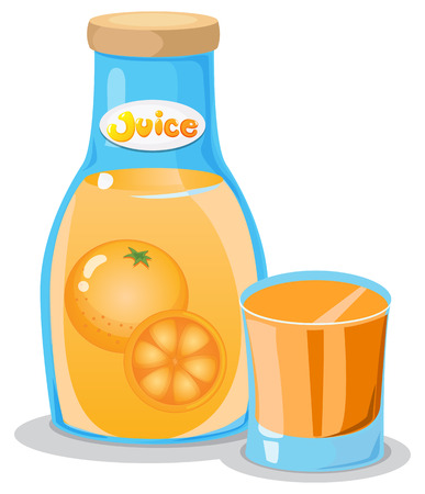oranges: Illustration of a bottle of orange juice on a white background Illustration