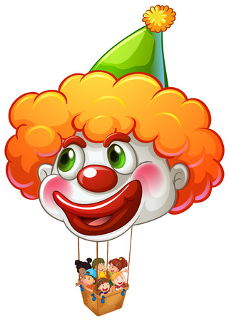 Illustration of a clown balloon carrying kids on a white background Vector