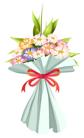 Illustration of a boquet of fresh and blooming flowers on a white background Vector