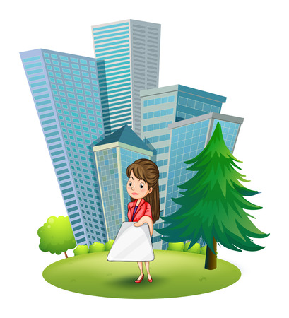 establishments: Illustration of a woman outside the office on a white background