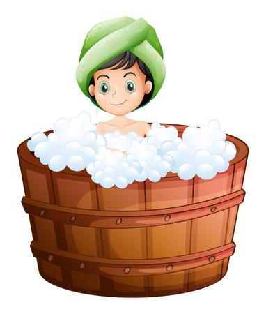 aseo personal: Ilustración de una niña linda que toma un baño en un fondo blanco