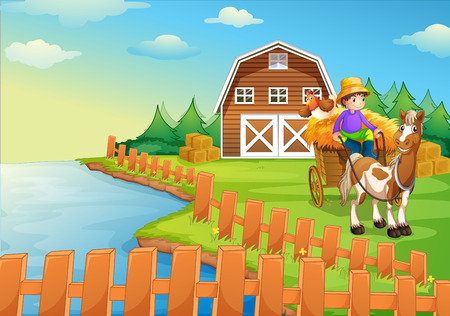 Illustration of a boy at the farm Vector