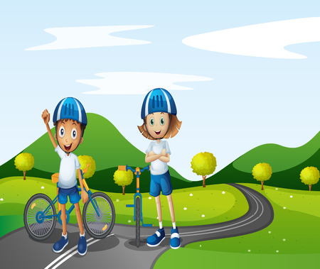 Illustration of a boy and a girl biking Vector