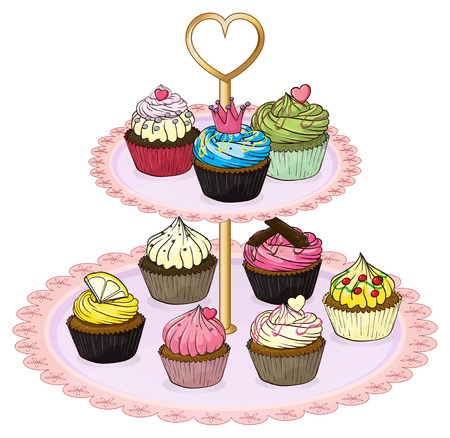 baking tray: Illustration of a cupcake tray with cupcakes on a white background