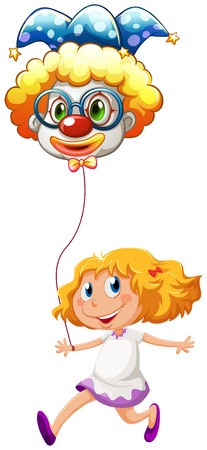Illustration of a happy little lady with a clown balloon on a white background Vector