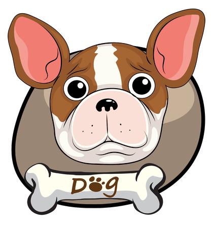 perro asustado: Ilustraci�n de una cabeza de un perro asustado en un fondo blanco