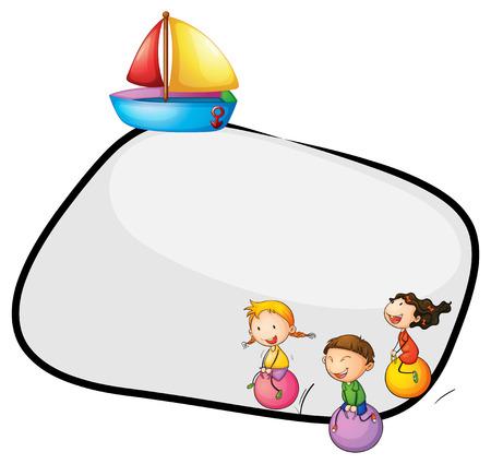 margen: Ilustración de una plantilla vacía con niños jugando y un barco sobre un fondo blanco