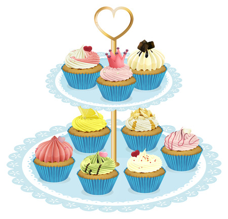 Illustration of a tray with cupcakes on a white background Vector