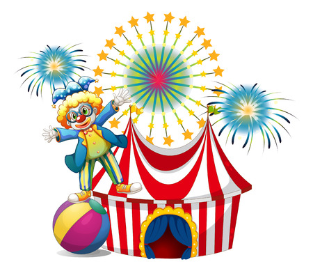 Illustration of a male clown playing outside the tent on a white background Vector