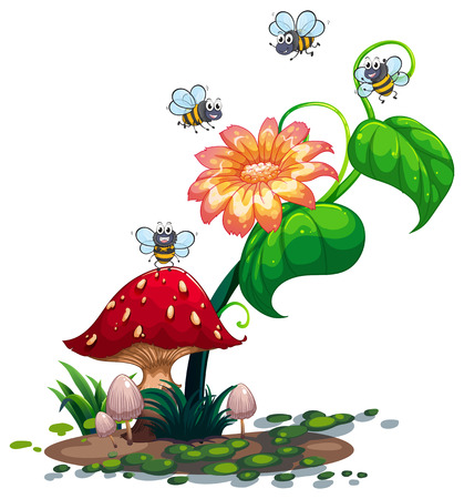 roaming: Illustration of the bees roaming around the plant with a flower on a white background Illustration