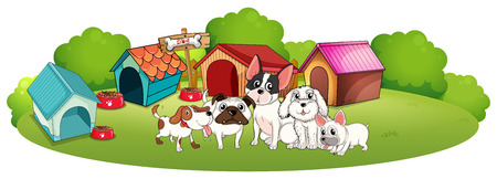 labelling: Illustration of the dogs outside their houses on a white background Illustration