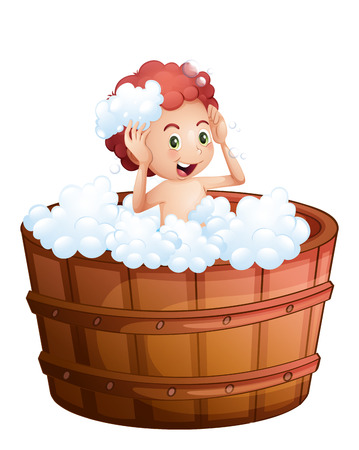 regimen: Illustration of a smiling young boy inside the wooden bathtub on a white background