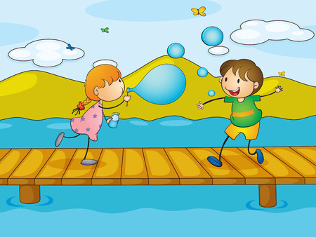 Illustration of the kids playing at the bridge Vector