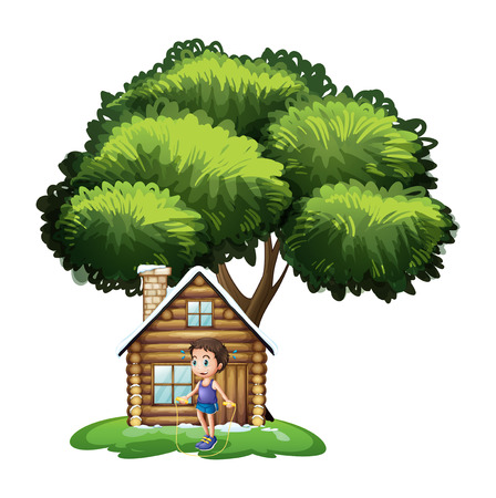 frontyard: Illustration of a boy playing outside the wooden house on a white background