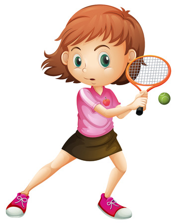 tennis skirt: Illustration of a young girl playing tennis on a white background
