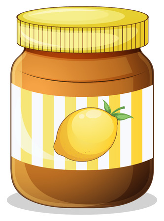 preservative: Illustration of a bottle of lemon jam on a white background