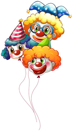 Illustration of the three colourful clown balloons on a white background Vector