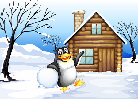 Illustration of a penguin outside the house Vector