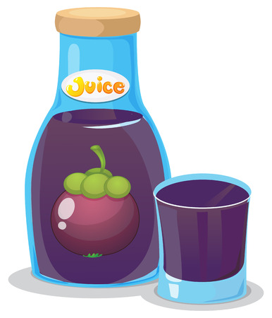 refreshments: Illustration of a bottle of eggplant juice on a white background