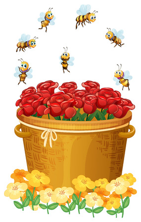 Illustration of a basket of red roses with bees on a white background Vector