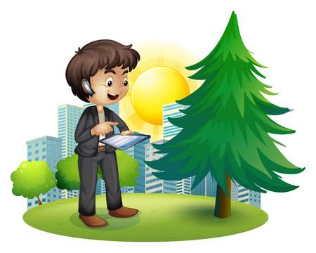 establishments: Illustration of a man using his gadget outside the building on a white background Illustration