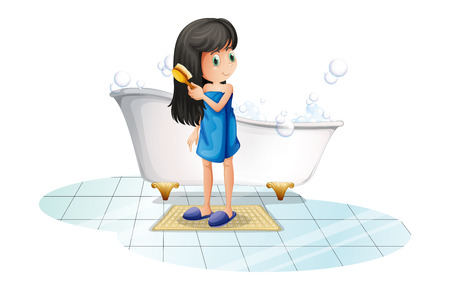 cartoon bathing: Illustration of a girl combing her long black hair on a white background
