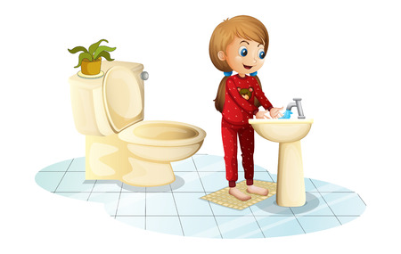 Illustration of a young girl washing her hands on a white background