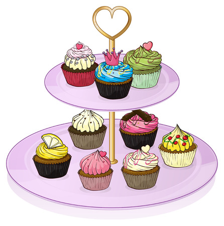 Illustration of the cupcakes in the cupcake tray on a white background Vector
