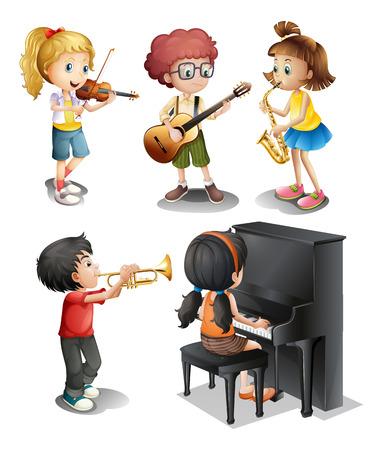 trompette: Illustration des enfants avec des talents musicaux sur un fond blanc