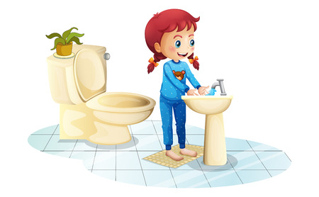 Illustration of a girl wearing a blue sleepwear washing her hands on a white background Vector