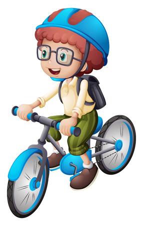 niño con mochila: Ilustración de un hombre joven en bicicleta en un fondo blanco