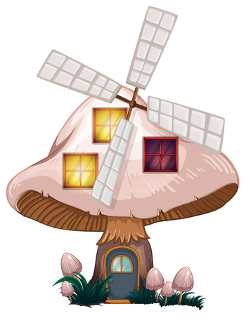 giant mushroom: Illustration of a mushroom house with a windmill on a white background Illustration