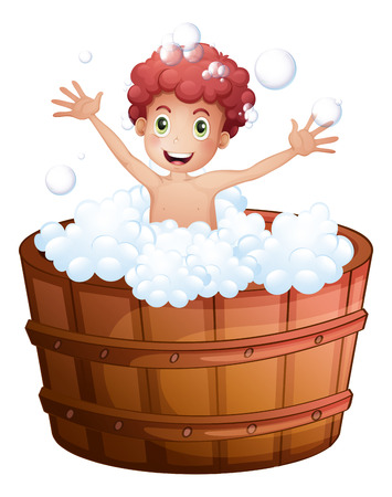 personal grooming: Illustration of a young boy playing at the bathtub on a white background