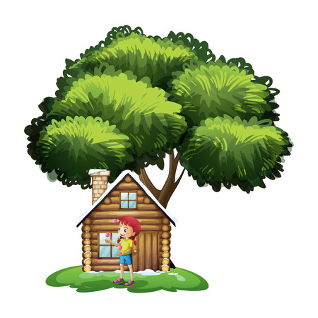 frontyard: Illustration of a house under the tree with a little girl playing on a white background Illustration
